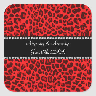 Red leopard pattern wedding favors square sticker