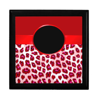 Red Leopard Print and Rosette Jewelry Box
