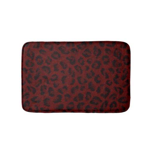 Red Leopard Print Bath Mat Zazzle