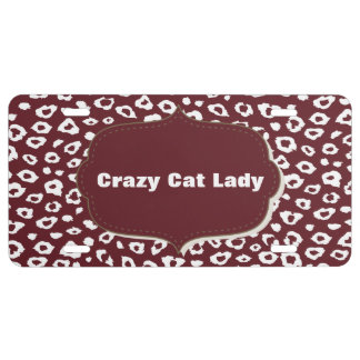 Red Leopard Print Crazy cat lady License Plate