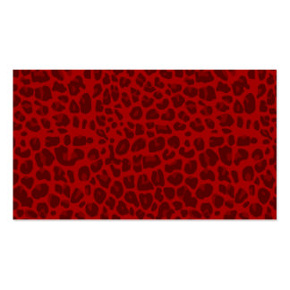 Red leopard print pattern business card template