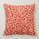 Red Leopard Print Skin Throw Pillow