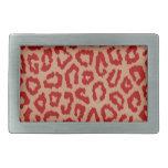 Red Leopard Skin Art Belt Buckles