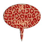 Red Leopard Skin Art Cake Toppers
