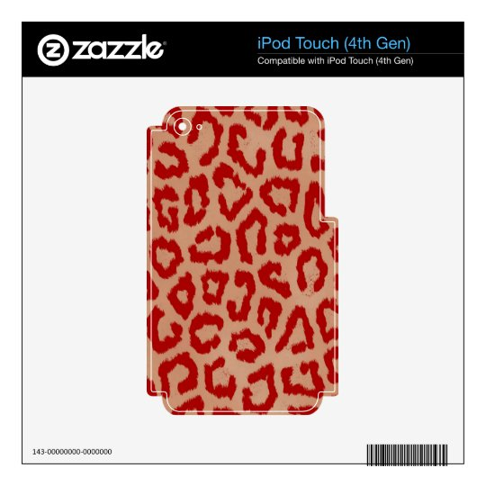 Red Leopard Skin Art Decal For iPod Touch 4G