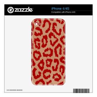 Red Leopard Skin Art iPhone 4 Skins
