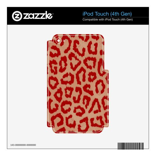 Red Leopard Skin Art iPod Touch 4G Skins