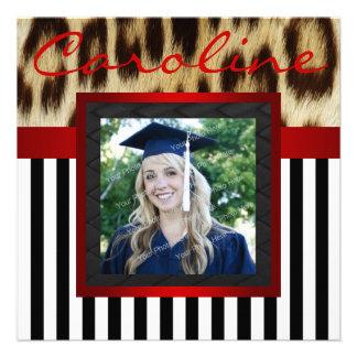 Red Leopard Stripes Grad Photo Invite