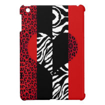Red Leopard & Zebra Custom Animal Print Heart iPad Mini Cover