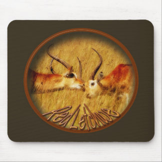 Red Letchwe fighting, wildlife safari mousepads