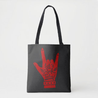 Red Lets Rock Today Hand Gesture Grunge Tote