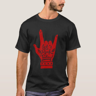 Red Lets Rock Today Rock and Roll Grunge Tee