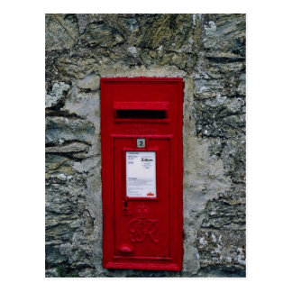 red letter box mounted on wall postcards