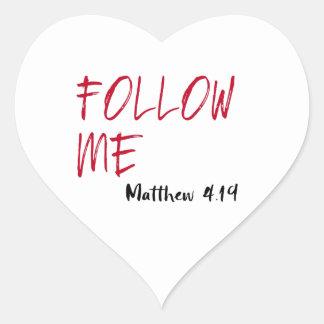Red Letter Jesus Quote: Follow Me Scripture Heart Sticker