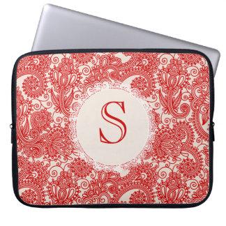 Red Letter Monogram Paisley Designer Laptop Bag