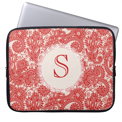 Red Letter Monogram Paisley Designer Laptop Bag Computer Sleeve