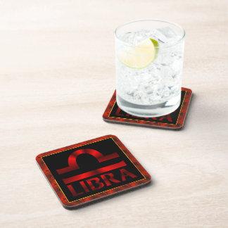 Red Libra Horoscope Symbol Drink Coaster