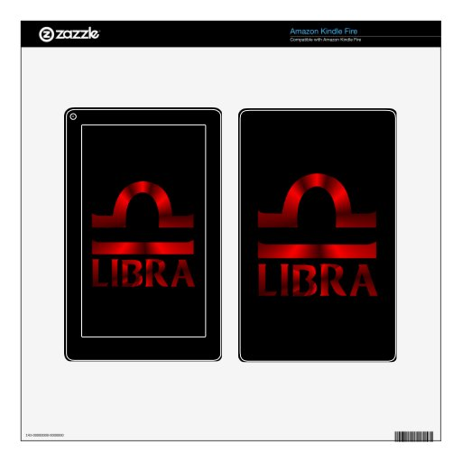 Red Libra Horoscope Symbol Skins For Kindle Fire