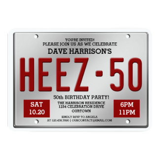 Red License Plate 50th Birthday Invitations