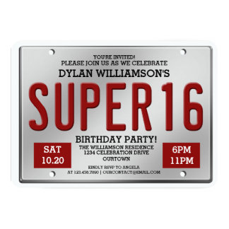 Red License Plate Super 16 Party Invitations
