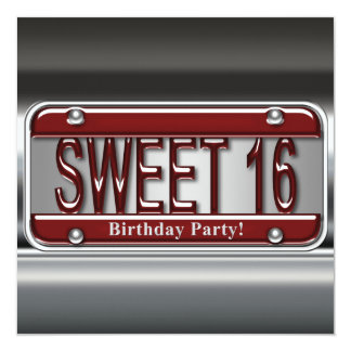 Red License Plate Sweet Sixteen Party Invitations