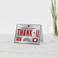 Red License Plate Thank You Card