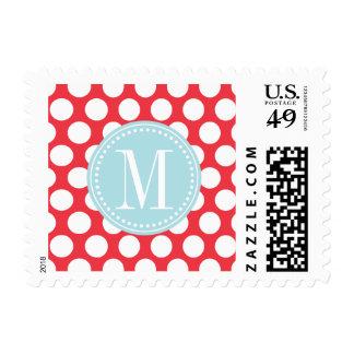 Red & Light Blue  Big Polka Dots Monogrammed Postage Stamp