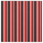 [ Thumbnail: Red, Light Coral & Black Lines/Stripes Pattern Fabric ]