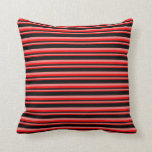[ Thumbnail: Red, Light Coral & Black Lines/Stripes Pattern Throw Pillow ]
