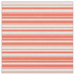 [ Thumbnail: Red & Light Cyan Striped Pattern Fabric ]