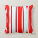 [ Thumbnail: Red & Light Cyan Striped Pattern Throw Pillow ]