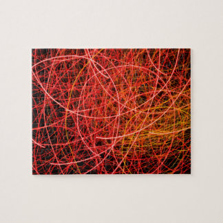 Red, light display, colored laser, jigsaw puzzle