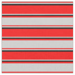 [ Thumbnail: Red, Light Gray & Black Stripes Fabric ]