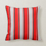 [ Thumbnail: Red, Light Gray & Black Stripes Throw Pillow ]