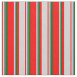 [ Thumbnail: Red, Light Gray, Slate Gray & Dark Green Pattern Fabric ]