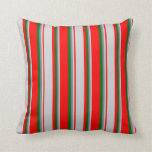[ Thumbnail: Red, Light Gray, Slate Gray & Dark Green Pattern Throw Pillow ]