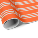 [ Thumbnail: Red & Light Gray Stripes Pattern Wrapping Paper ]