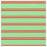 [ Thumbnail: Red & Light Green Colored Lines Pattern Fabric ]