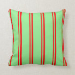 [ Thumbnail: Red & Light Green Colored Lines Pattern Pillow ]
