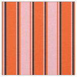 [ Thumbnail: Red, Light Pink, and Black Pattern of Stripes Fabric ]