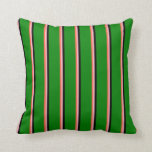 [ Thumbnail: Red, Light Pink, Black, and Green Lines Pattern Throw Pillow ]