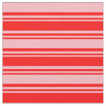 [ Thumbnail: Red & Light Pink Colored Pattern of Stripes Fabric ]