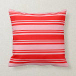 [ Thumbnail: Red & Light Pink Colored Pattern of Stripes Pillow ]