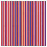 [ Thumbnail: Red, Light Salmon, and Dark Blue Stripes Fabric ]