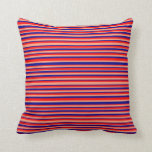 [ Thumbnail: Red, Light Salmon, and Dark Blue Stripes Pillow ]