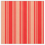 [ Thumbnail: Red & Light Salmon Colored Lined/Striped Pattern Fabric ]