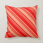 [ Thumbnail: Red & Light Salmon Colored Lined/Striped Pattern Throw Pillow ]