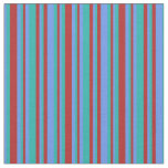 [ Thumbnail: Red, Light Sea Green, and Cornflower Blue Pattern Fabric ]
