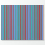 [ Thumbnail: Red, Light Sea Green, and Cornflower Blue Pattern Wrapping Paper ]