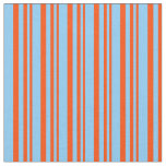 [ Thumbnail: Red & Light Sky Blue Colored Stripes Fabric ]
